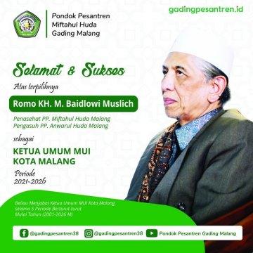 Almukarram KH. Muhammad Baidlowi Muslich terpilih kembali menjadi Ketua Umum MUI Kota Malang