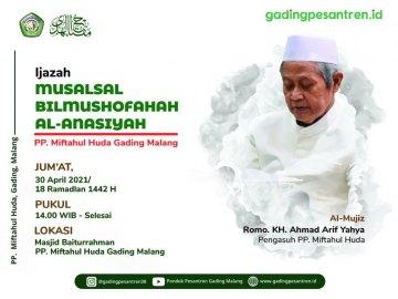 Ijazah Musalsal Bil Mushofahah Al-Anasiyah Di Pondok Gading