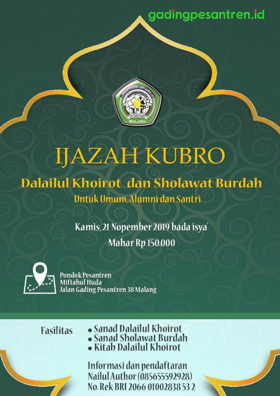 Ijazah Kubro Dalailul Khoirot dan Sholawat Burdah untuk Umum, Alumni, dan Santri