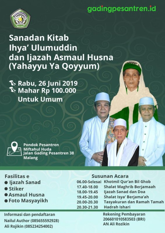 Ikutilah Sanadan Kitab Ihya' Ulumuddin dan Ijazah Asmaul Husna (Ya Hayyu Ya Qoyyum) - Dok.PPMH