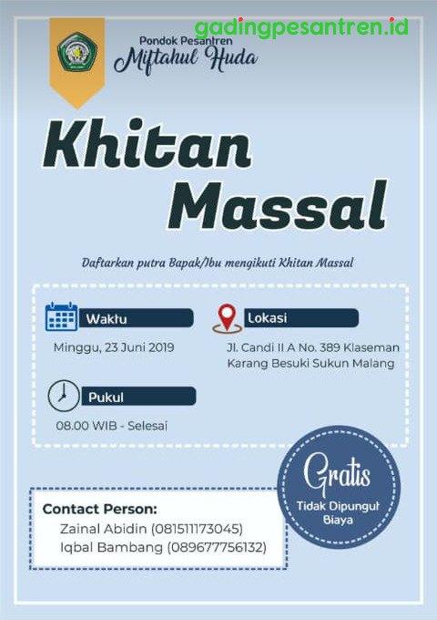 Brosur Khitan Massal Gratis dalam Rangka Haul ke-49 KH. Muhammad Yahya PP. Miftahul Huda Gading Malang (Dok. Juni 2019)